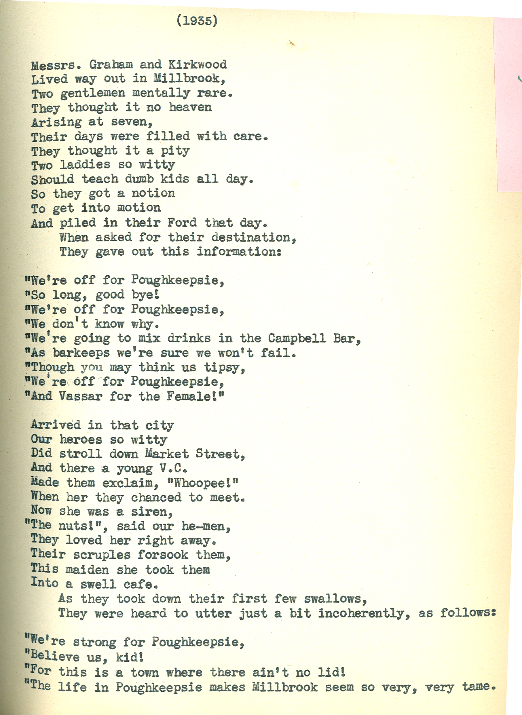 Vassar College Costume Collection With Apologies Poem By