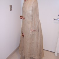Side View of Natural Linen Morning Gown