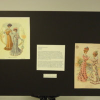 Photograph of exhibition poster for Pink Printed Silk Ensemble