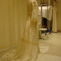 Side View of Cream Silk and Lace Dress