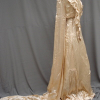 Side view of Ivory Satin Gown with Train