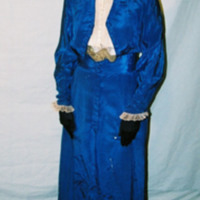 Front View of Royal Blue Silk Dress with Tails