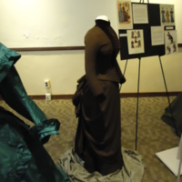 Side view of Brown Wool and Velvet Bustle Ensemble