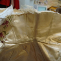 Detail View of Ivory Silk Mantle with Floral Motif