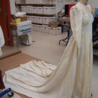 Side View of Ivory Wedding Dress of Marion Heagan Sauter