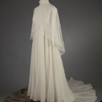 Front View of 1970s Wedding Dress with Capelet and Hat