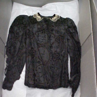 Front View of Gray Eyelet Jacket
