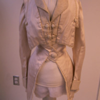 Front View of White Jacket with Cinched Waist