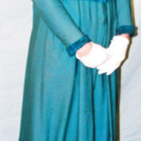 Front View of Teal Dress with Cream Lace