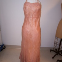 Front View of Peach Dress with Lace Bolero