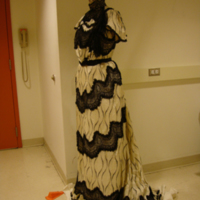 Side View of Cream and Black Printed Silk Dress with Black Lace