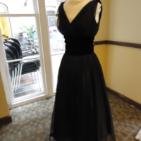 3/4 view of Black Cocktail Dress