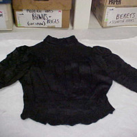 Front View of Black Silk Bodice with Smocking