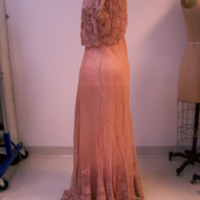 Side View of Peach Dress with Lace Bolero