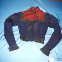 Front View of Navy Bodice with Red  Yoke