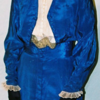Detail View of Royal Blue Silk Dress with Tails