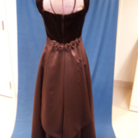 Back View of Brown Satin Bridesmaid Dress with Velvet
