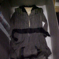 Front View of Gray Print Dress with Black Detail