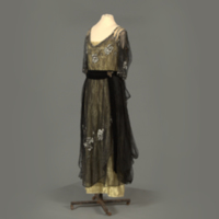 Front View of Black and Gold Beaded Dress
