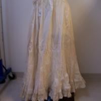 Front View of Cream Petticoat with Lace Trim