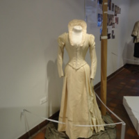 Scale View of Cream Wedding Dress of Silk Moire and Wool