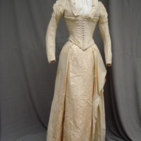Front View of White Wool Wedding Dress