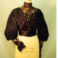 Front View of Black Lace Bodice with Full Sleeves