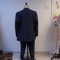 Back View of Gray Pinstripe Two-Piece Suit