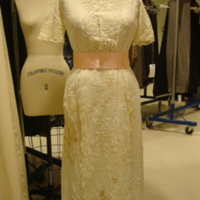 Front View of Cream Day Dress with Floral Embroidery