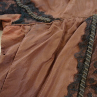 Detail View of Brown Silk Bodice with Double-Pointed Waist