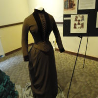 3/4 view of Brown Wool and Velvet Bustle Ensemble