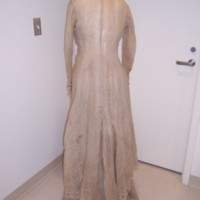 Back View of Natural Linen Morning Gown
