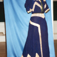 Front View of Dark Blue Ensemble with Crocheted Lace