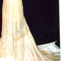 Detail View of Cream Silk and Lace Dress