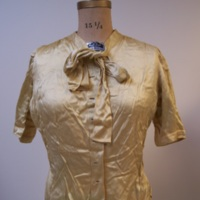 Front View of Gold Silk Blouse with Bow
