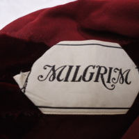 Label View of of Burgundy Crushed Silk Evening Ensemble