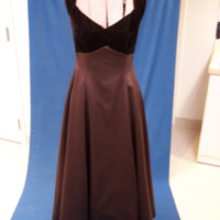 Front View of Brown Satin Bridesmaid Dress with Velvet