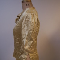 Side View of Gold Silk Blouse with Bow