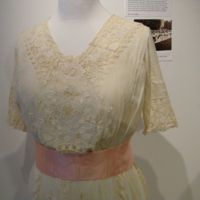 Detail View of Cream Day Dress with Floral Embroidery