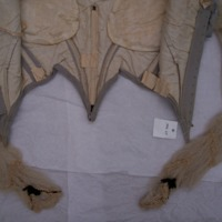 Interior Construction View of Gray Silk Evening Bodice with Lace