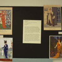 Photograph of exhibition poster for Royal Blue Silk Day Dress