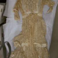 Back View of cream lace dress with slip