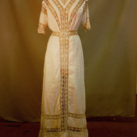 Front View of White Cotton Dress with Lace Yoke
