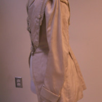 Side View of White Jacket with Cinched Waist