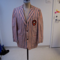 Front View of Princeton Striped Jacket with Badge