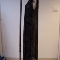 Side View of 1920's Black Beaded Evening Dress