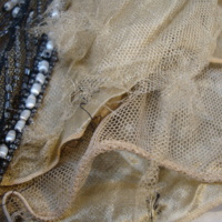 View of Condition of Black and Gold Beaded Dress
