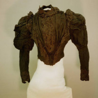 Front View of Black Bodice with Eyelet Trim