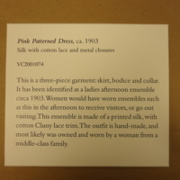 View of Exhibition Label for Pink Patterned Dress