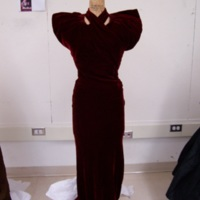 Front View of Burgundy Crushed Silk Evening Ensemble